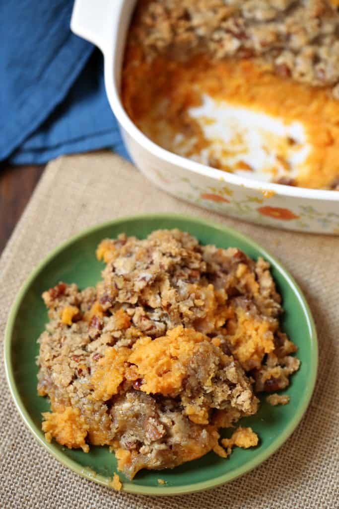 Easy Sweet Potato Casserole recipe from The Country Cook. So simple and my favorite recipe for the holidays, Thanksgiving & Christmas.