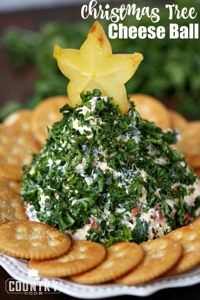 Christmas Tree-Shaped Cheese Ball recipe from The Country Cook