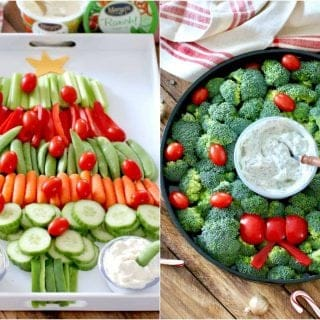 Christmas Wreath and Christmas Tree Veggie Trays