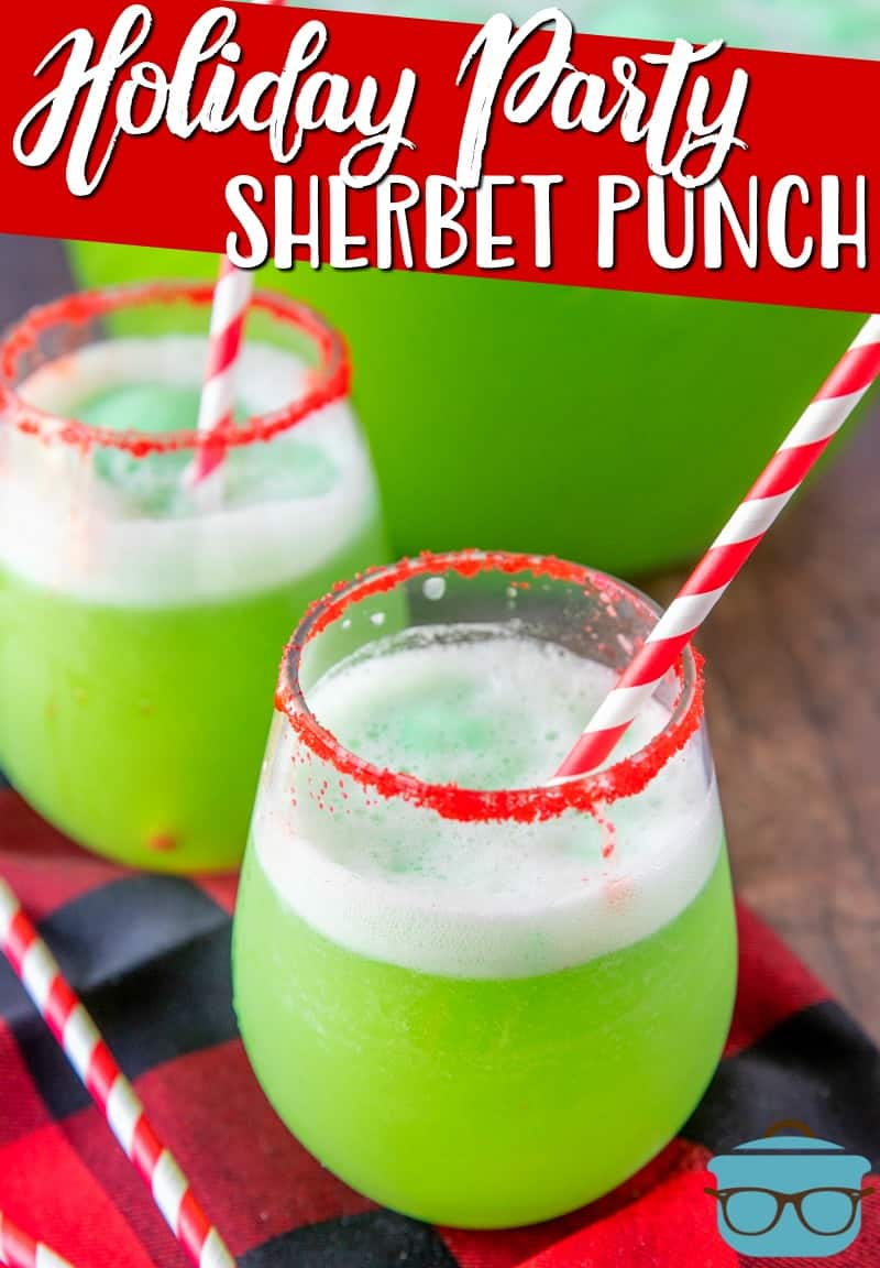 This Holiday Party Sherbet Punch recipe is a twist on a classic punch. The green color works perfectly for the holidays or anytime! #Christmaspunch #punchrecipe