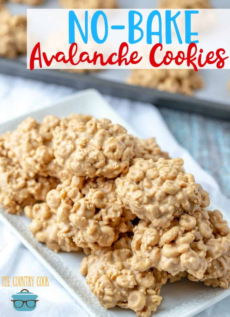 No Bake Avalanche Cookies recipe from The Country Cook shown on a long white platter and stacked.