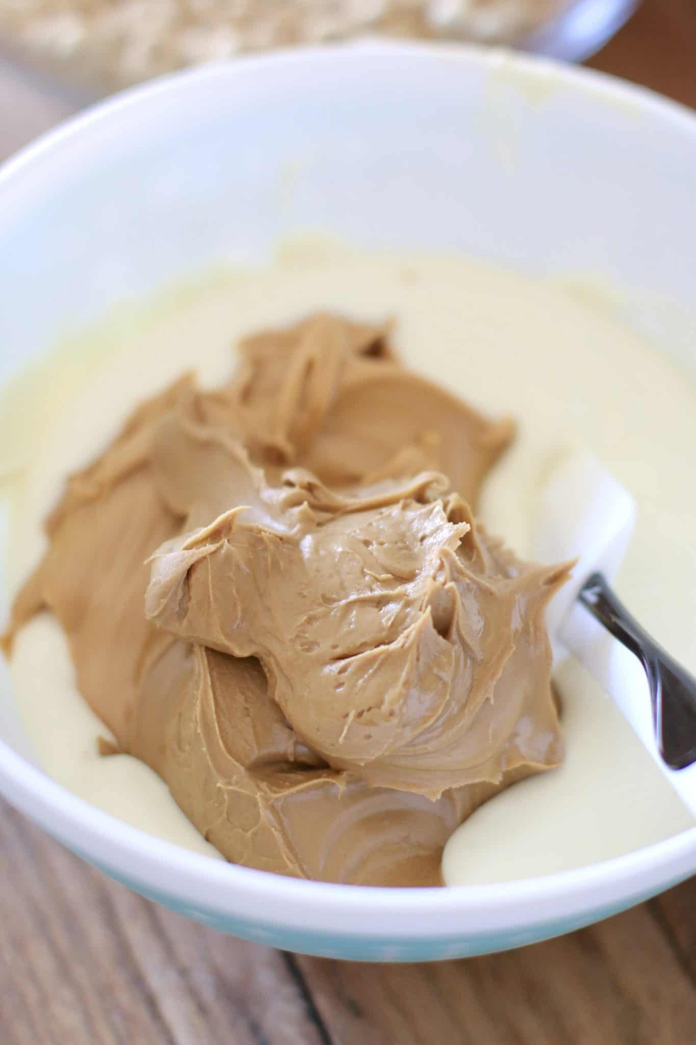 peanut butter, cookie butter, melted white chocolate.