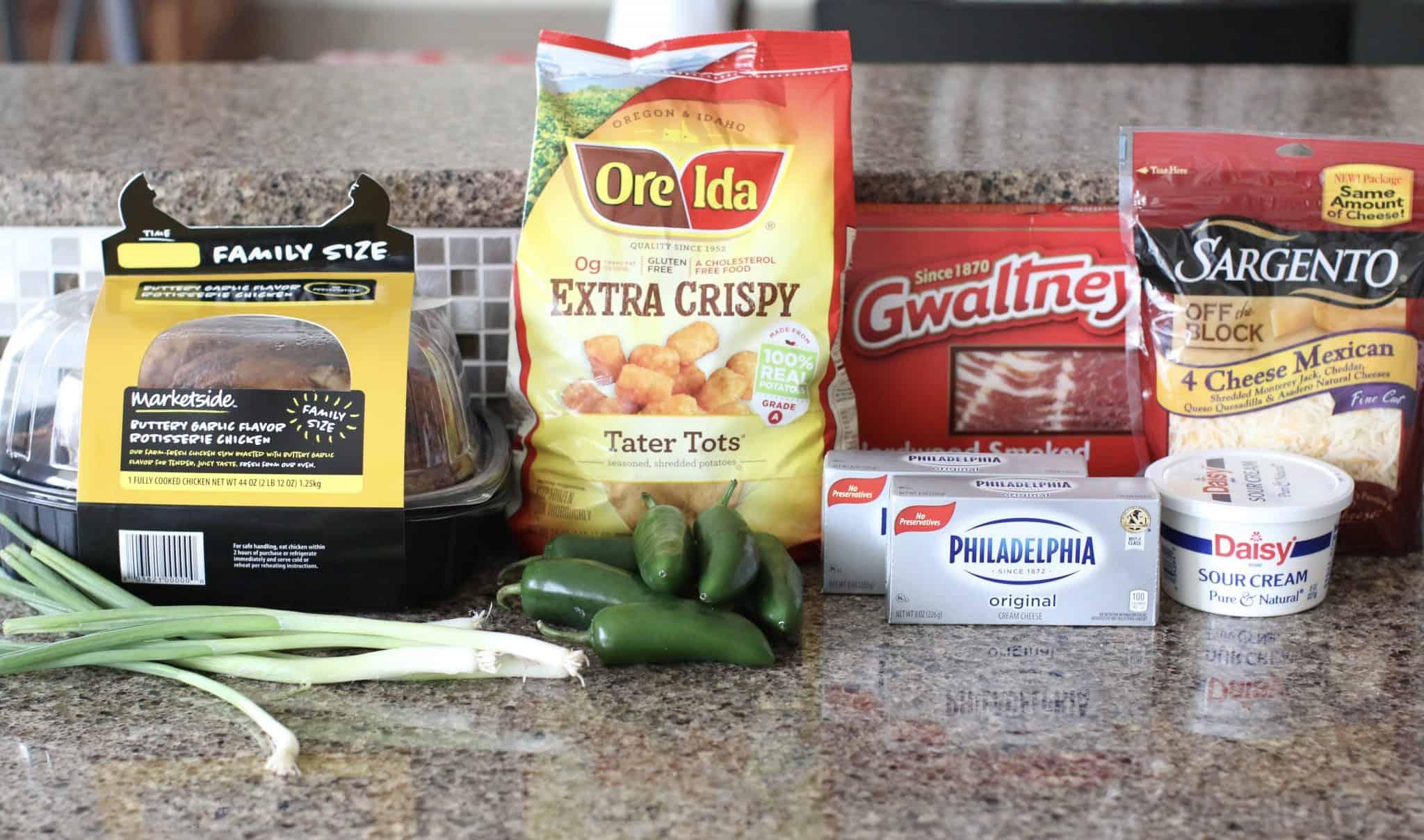 tater tots, cream cheese, sour cream, garlic salt, black pepper, Mexican shredded cheese, green onions, jalapeño pepper, bacon, rotisserie chicken.
