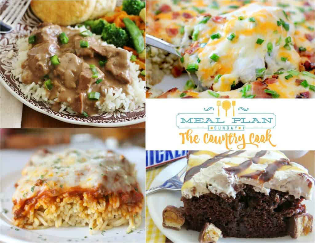 Meal Plan Sunday featured recipes include: Crock Pot Beef Tips, Baked Spaghetti, Jalapeño Popper Casserole, Crock Pot Mississippi Chicken, Taco Bake and Snickers Poke Cake