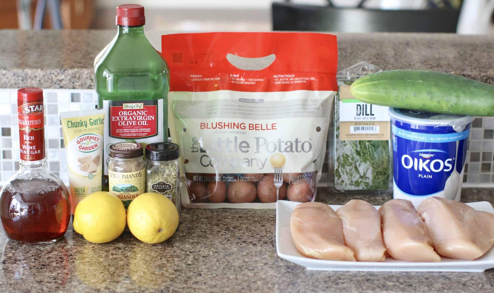 ingredients needed: baby potatoes, chicken breasts, olive oil, lemon juice, red wine vinegar, garlic, oregano, cilantro