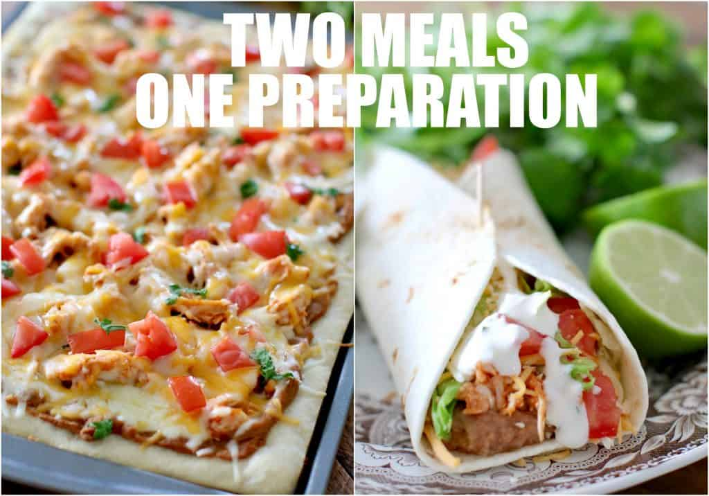 Chicken Taco Pizza and Chicken Tacos with Secret Sauce