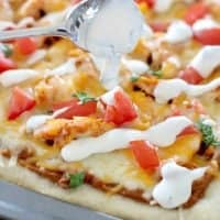 Chicken Taco Pizza with secret sauce