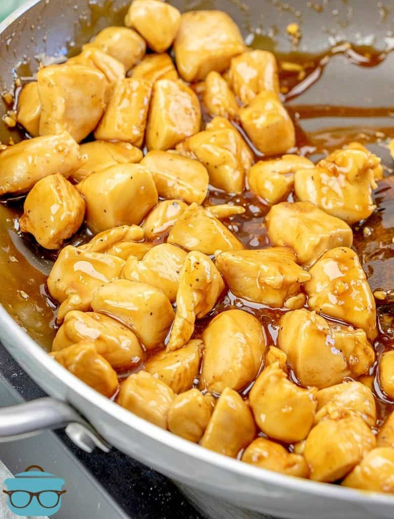 cooked chicken teriyaki in a large skillet