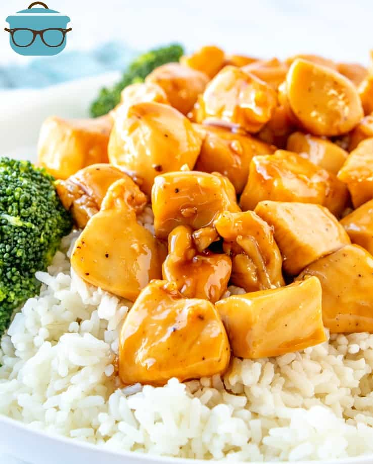 Homemade and Easy Chicken Teriyaki on a plate served over rice with broccoli