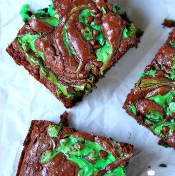 Mint Chocolate Chip Swirl Brownies