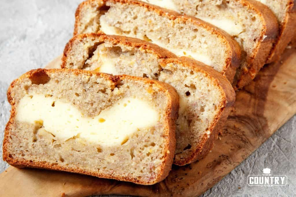 Cheesecake Stuffed Banana Bread The Country Cook