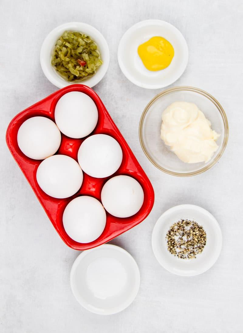 6 eggs, mayonnaise, yellow mustard, sweet pickle relish, salt, pepper, paprika.