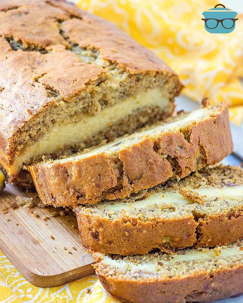 slices, cheesecake filled banana bread