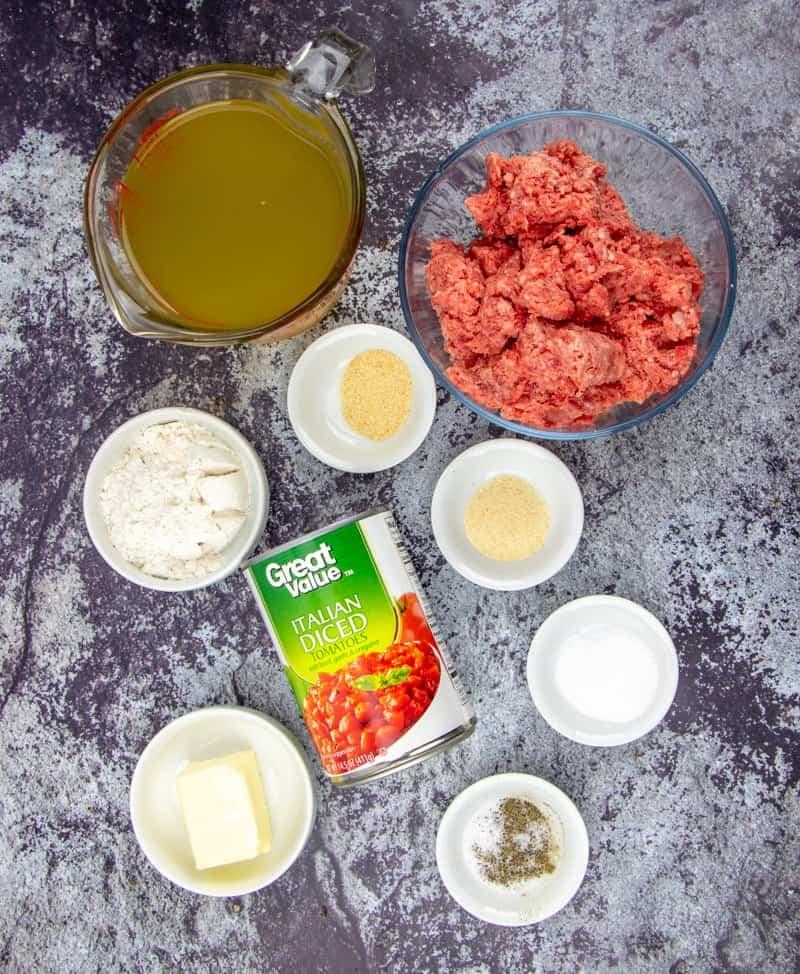 ground beef, salt, Italian diced tomatoes, chicken stock, butter, garlic powder, onion powder, flour