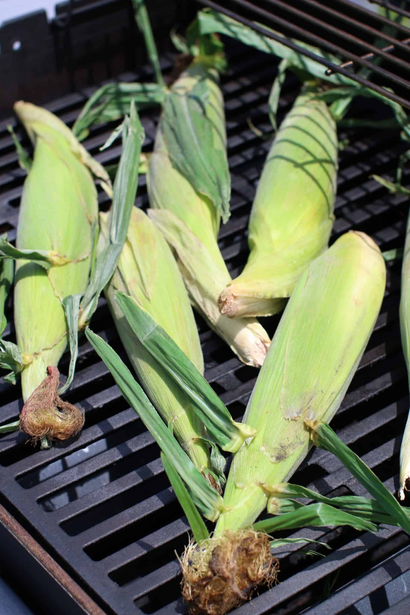 corn in husks on a grill.