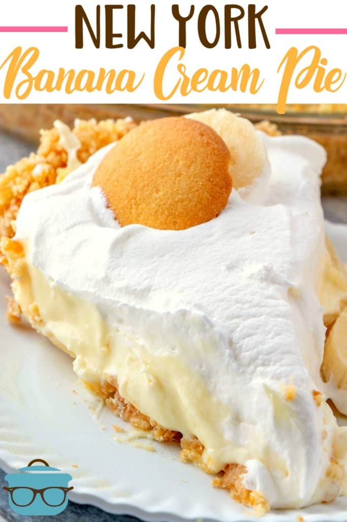 New York style Banana Cream Pie with a Nilla Wafer crust recipe from The Country Cook