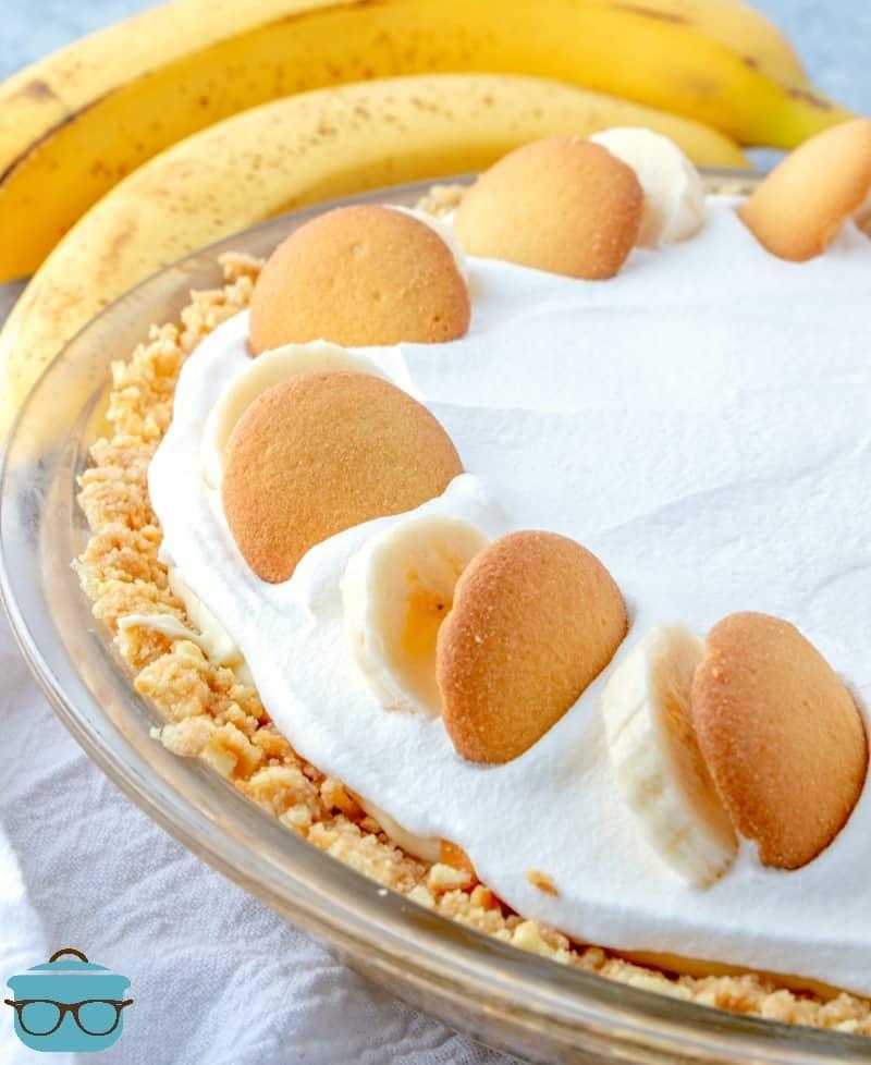 New York Banana Cream Pie topped with sliced banana and Nilla wafers