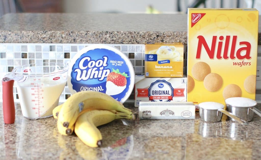 COOL WHIP, Nilla wafers, cream cheese, bandanna, butter, sugar, milk, instant banana pudding