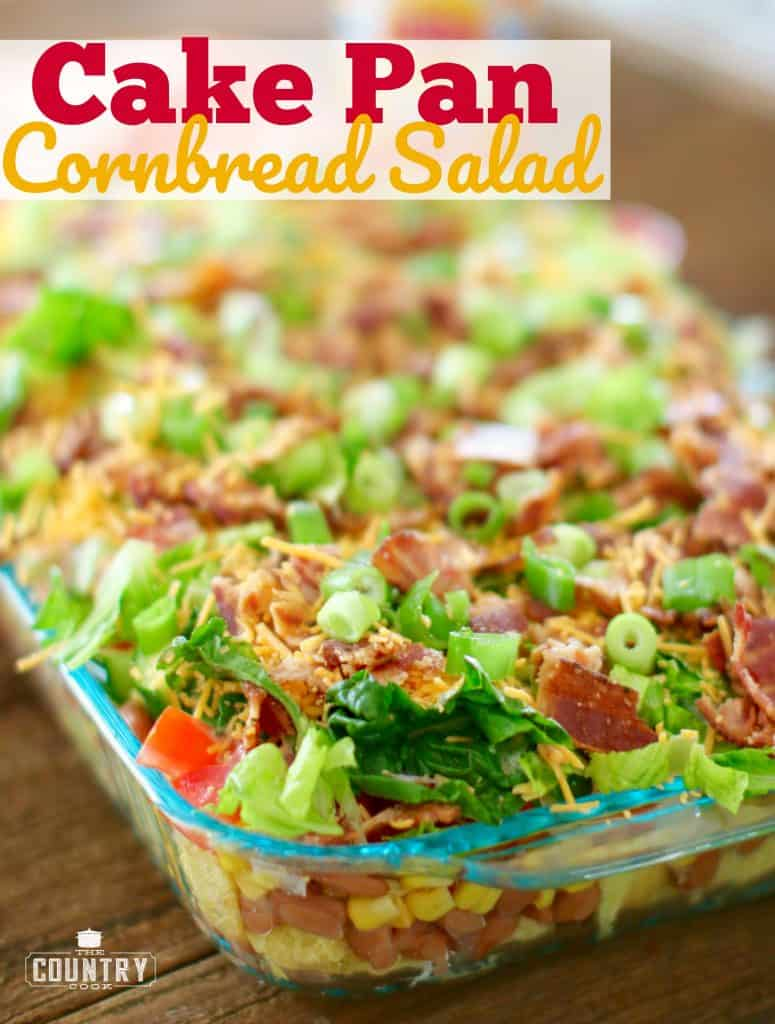 Cake Pan Cornbread Salad with BBQ Ranch Dressing