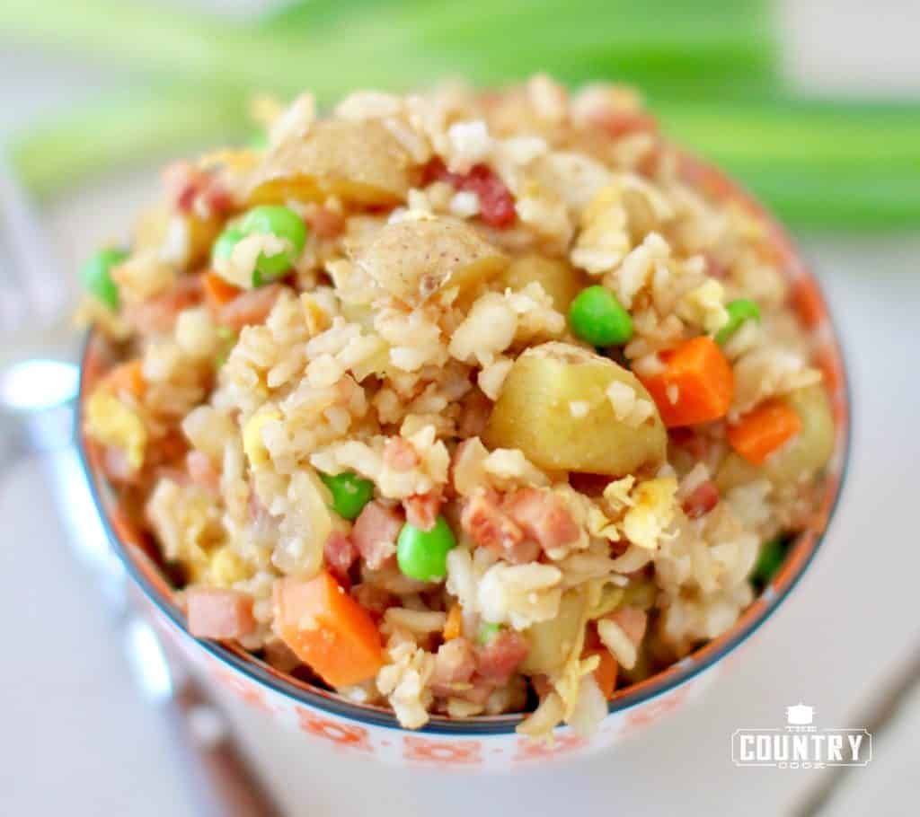 Easy Ham Potato Fried Rice recipe from The Country Cook