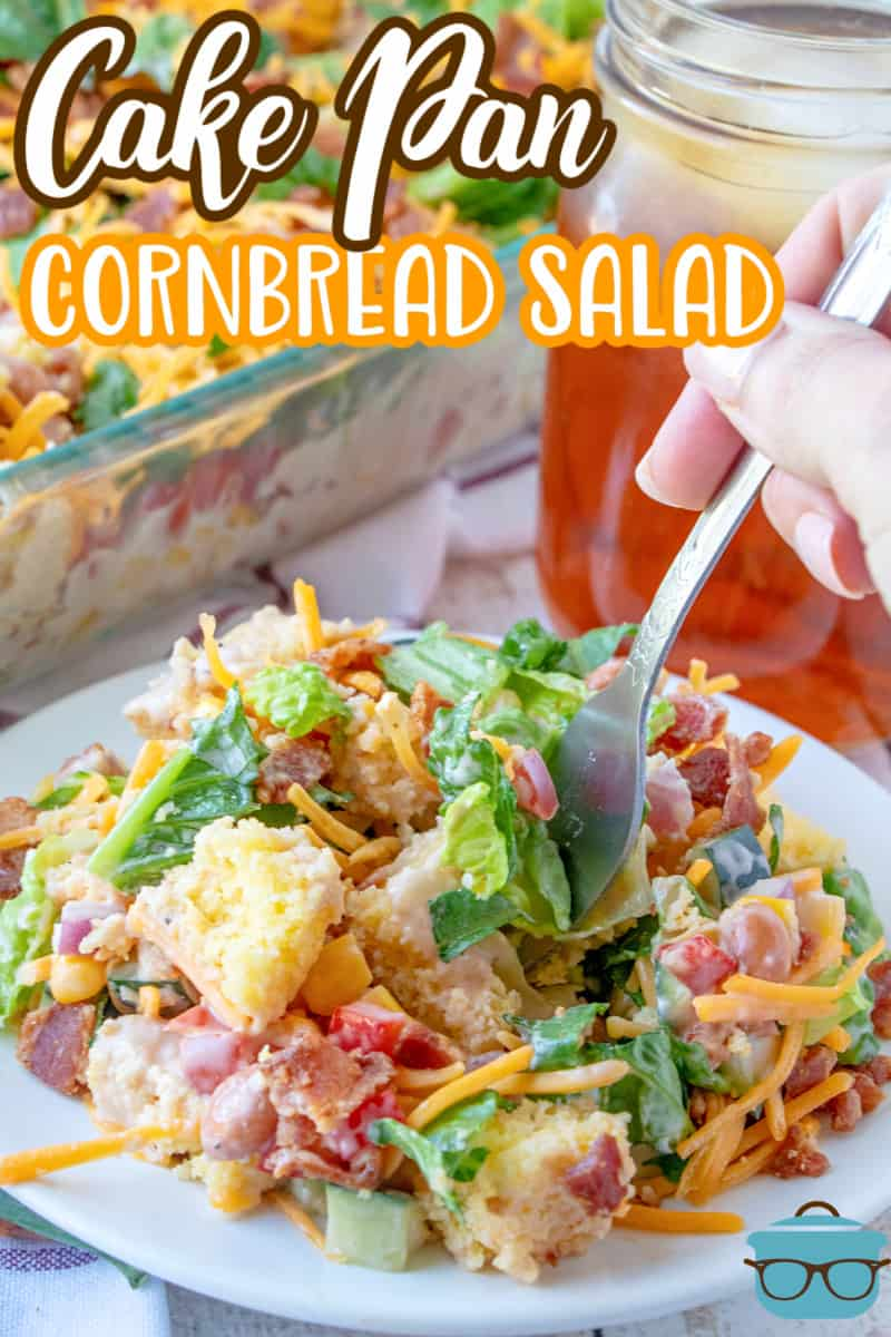 Southern Cake Pan Cornbread Salad recipe from The Country Cook, serving of cornbread salad shown on a small round plate with a fork inserted into the salad.
