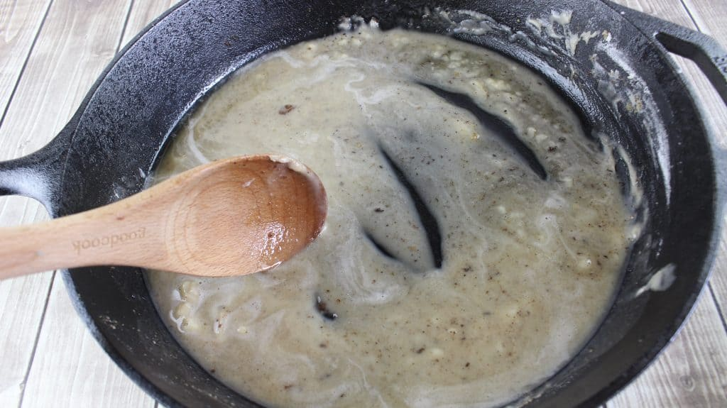 stirring gravy base