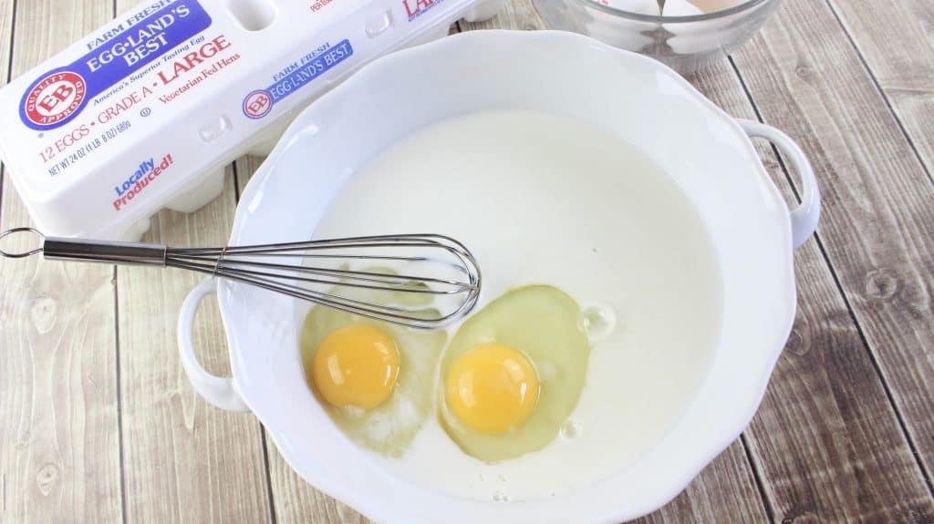 egg and milk mixture, pre-coating
