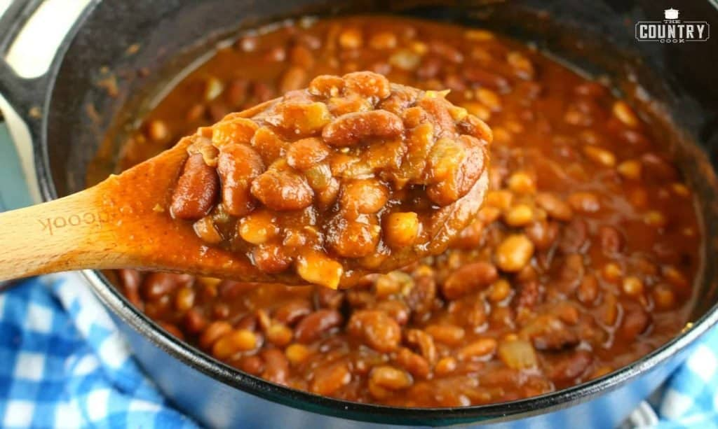 Root Beer Baked Beans - spoonful from pot