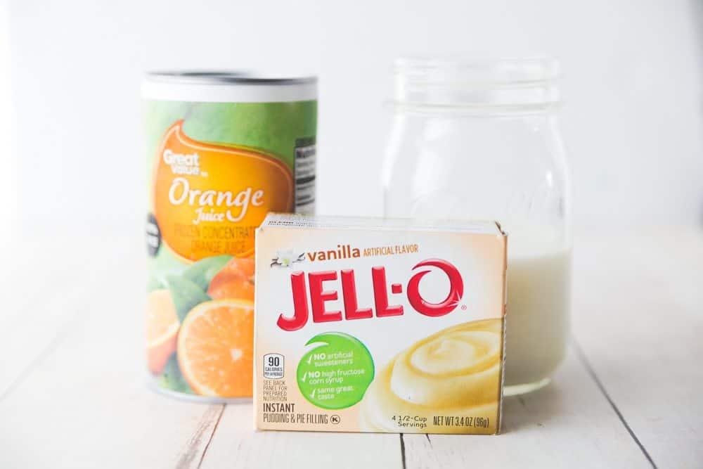 Orange Creamsicle salad ingredients, banana, pineapple, mandarin orange, jello