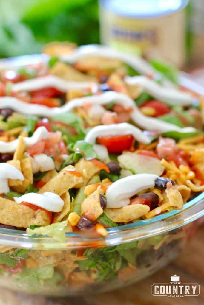 Vegetarian Taco Salad in a Large Bowl with Sour Cream