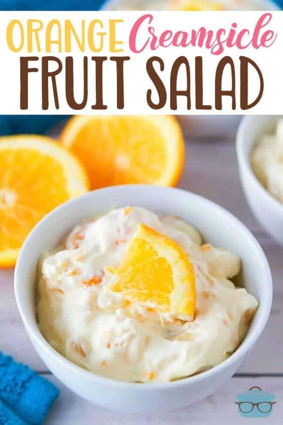 Orange Creamsicle Fruit Salad is a no-bake dessert full of mandarin oranges, pineapple tidbits and bananas in a creamy pudding. #orangecreamsicle #fruitsalad