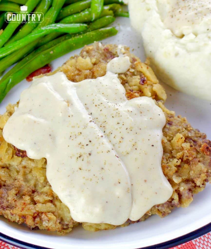 Final dish, Chicken Fried Steaks with White Gravy