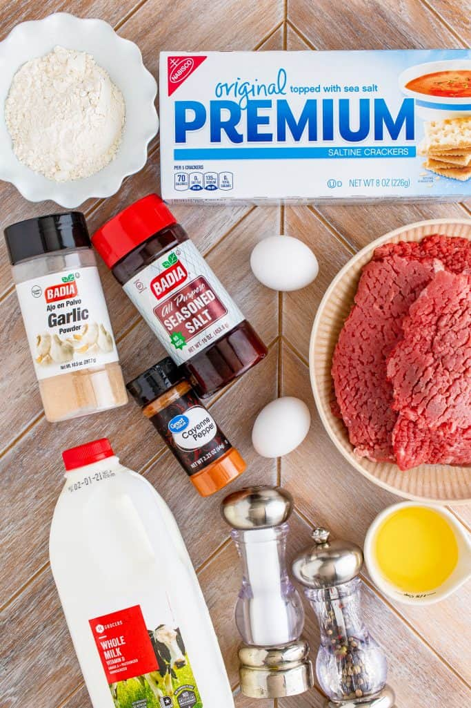 Chicken Fried Steak Ingredients: cube steak, salt, ground black pepper, all-purpose flour, saltine crackers, seasoned salt, garlic powder, cayenne pepper, eggs, milk