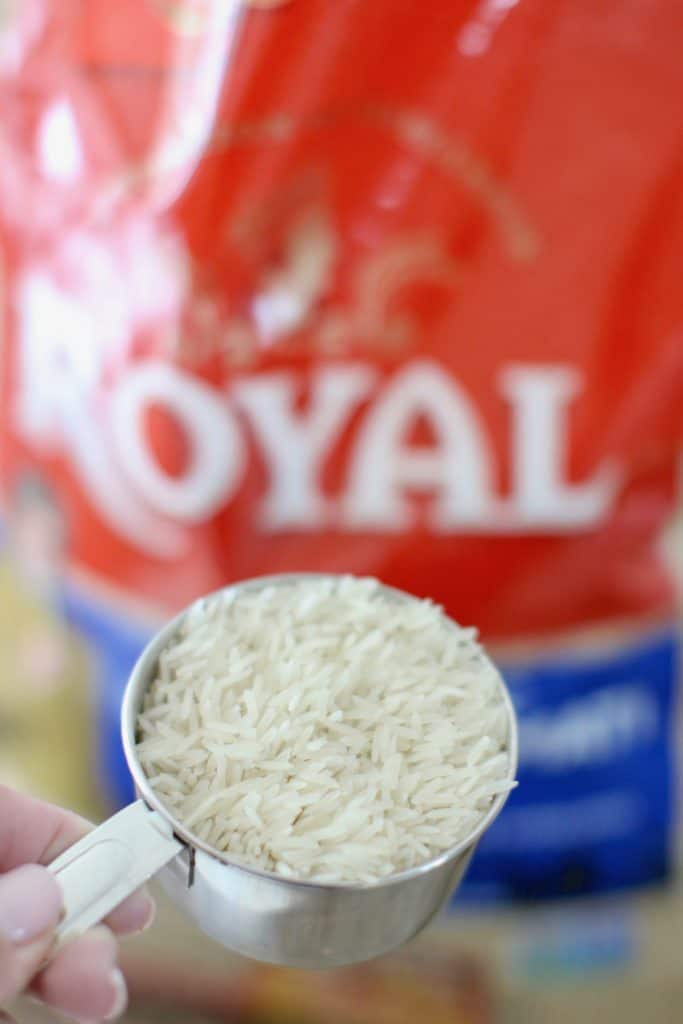 measuring out rice
