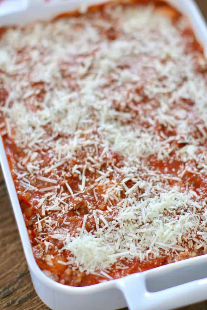 parmesan cheese sprinkled on rice lasagna