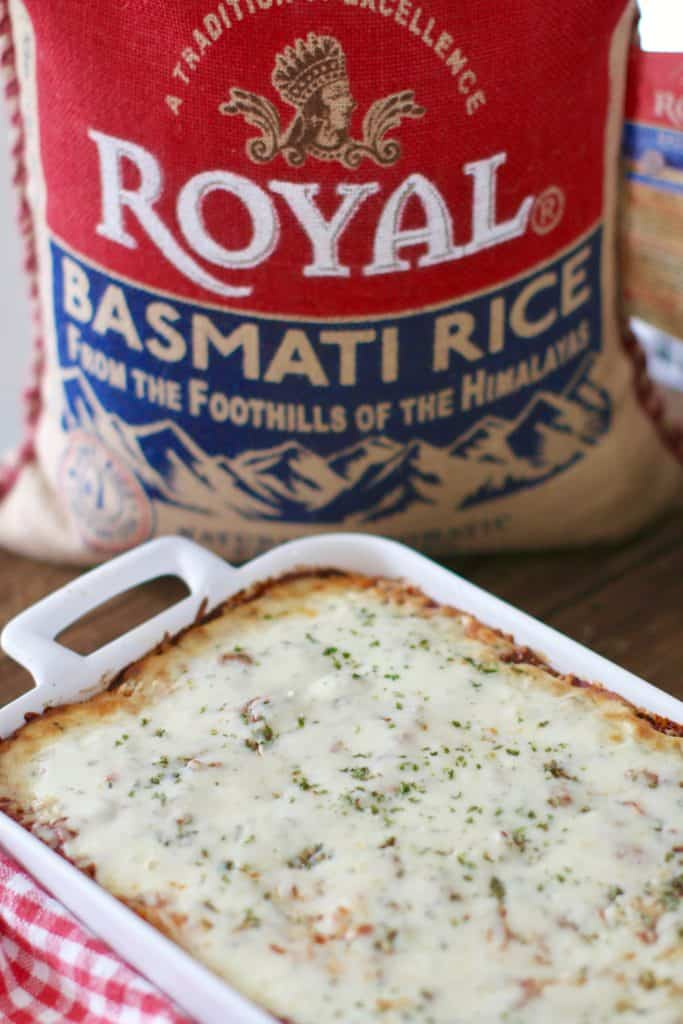 Finished rice lasagna with Royal Basmati Rice