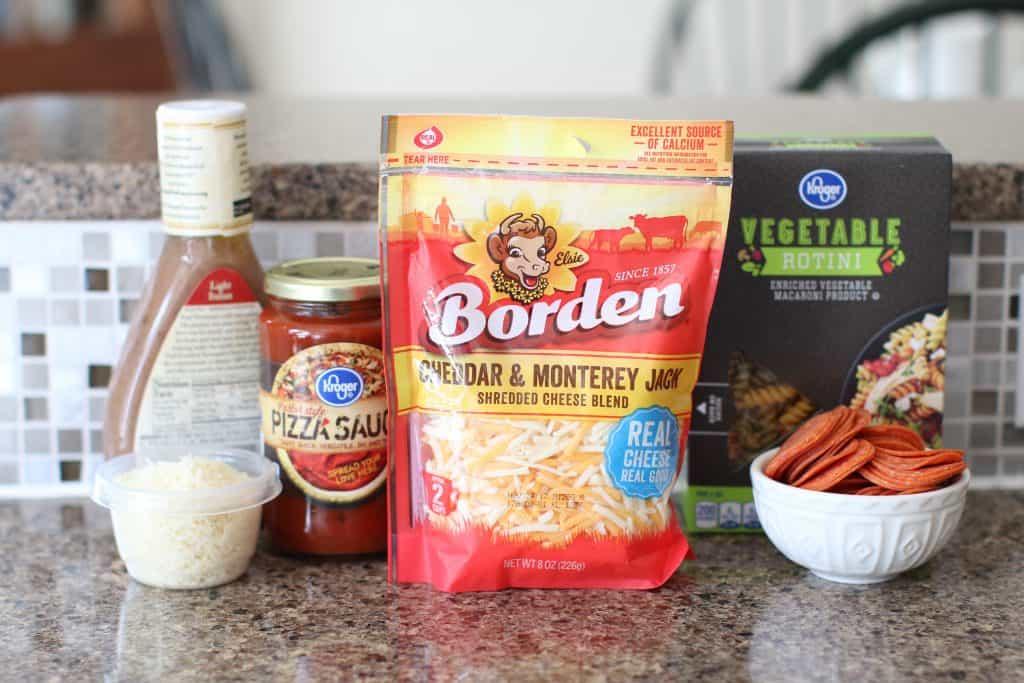 ingredients for pizza pasta salad