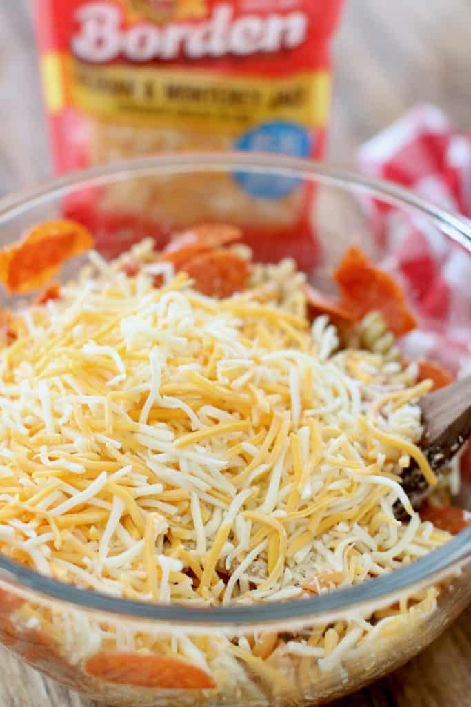 Borden shredded cheese mixed in with pasta