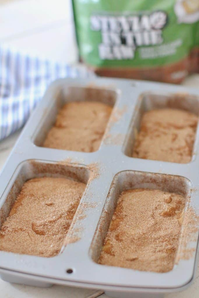 Amish Friendship Bread Mini Loaves prior to baking sprinkled with cinnamon sugar