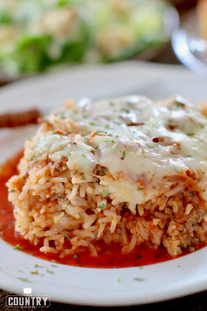 Rice Lasagna with additional spaghetti sauce