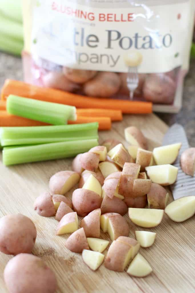 chopped potatoes, celery and carrots