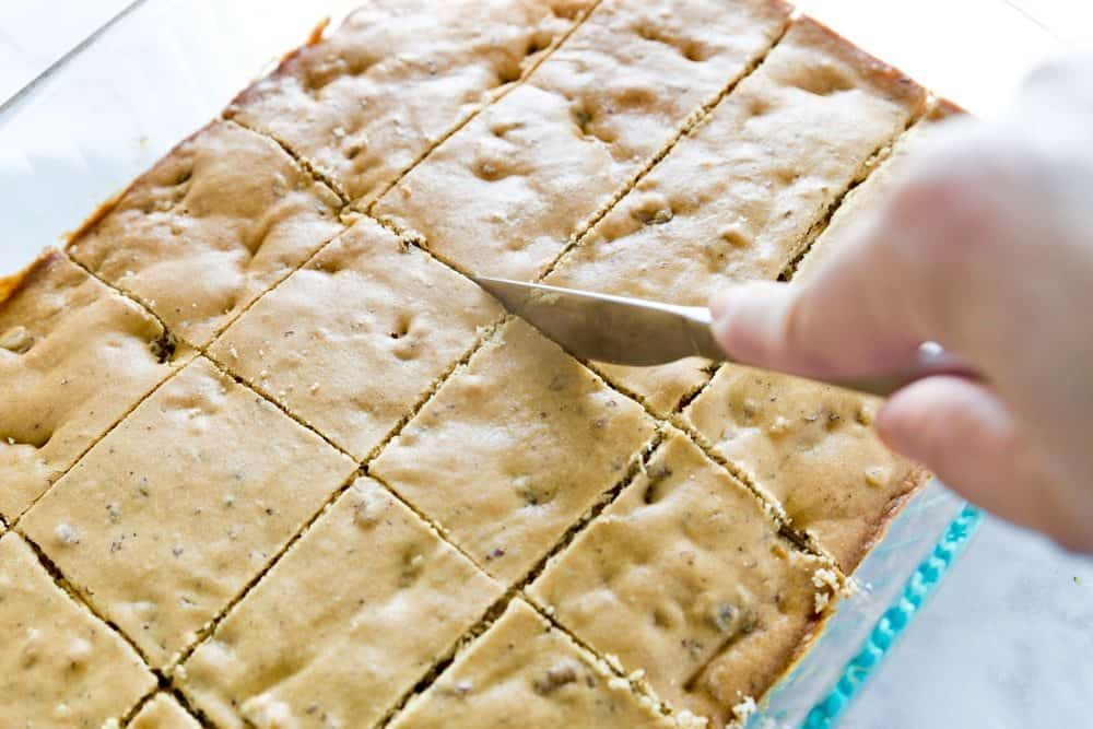 sliced blondies with walnuts