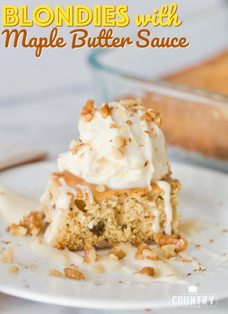 Copycat Applebee's Blondies with Maple Butter Sauce