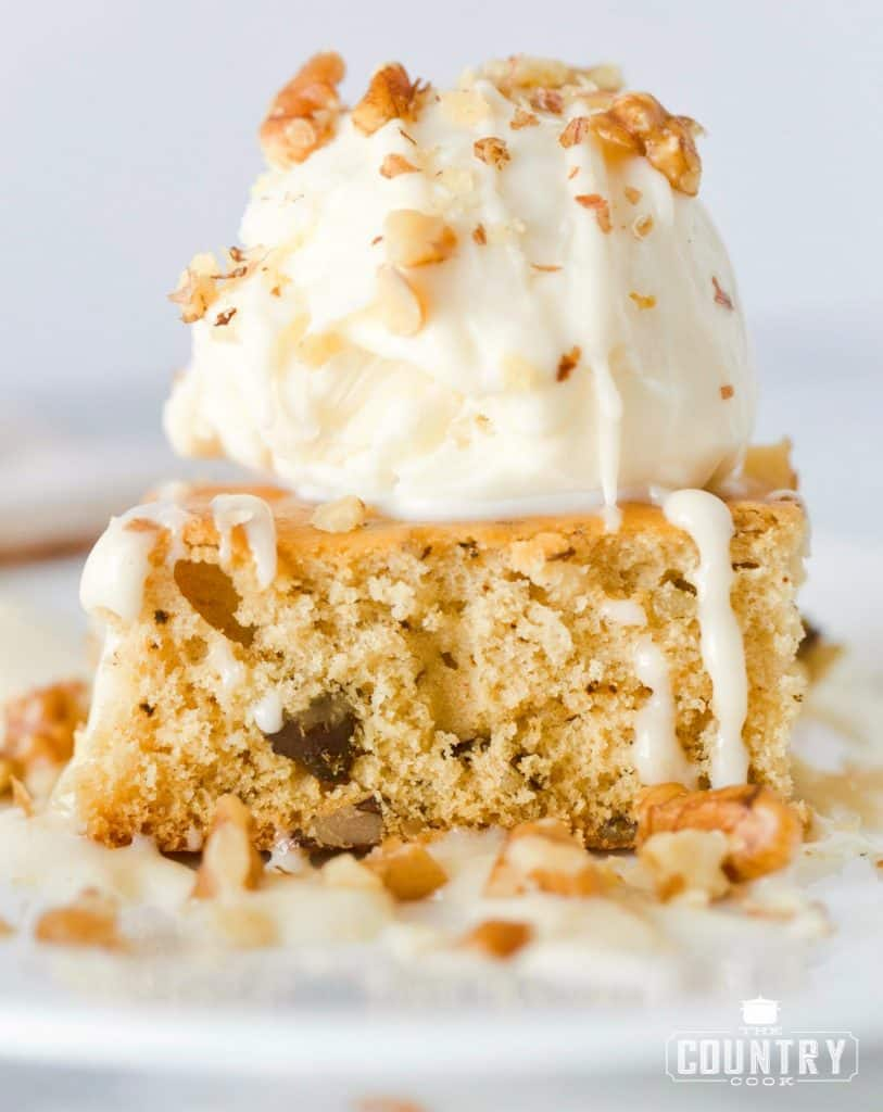 White Blondies with Ice Cream and Maple Butter Cream Sauce