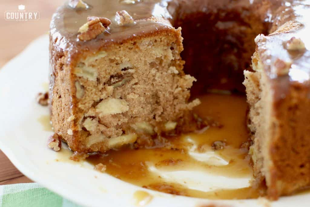 homemade apple cake with caramel drizzle
