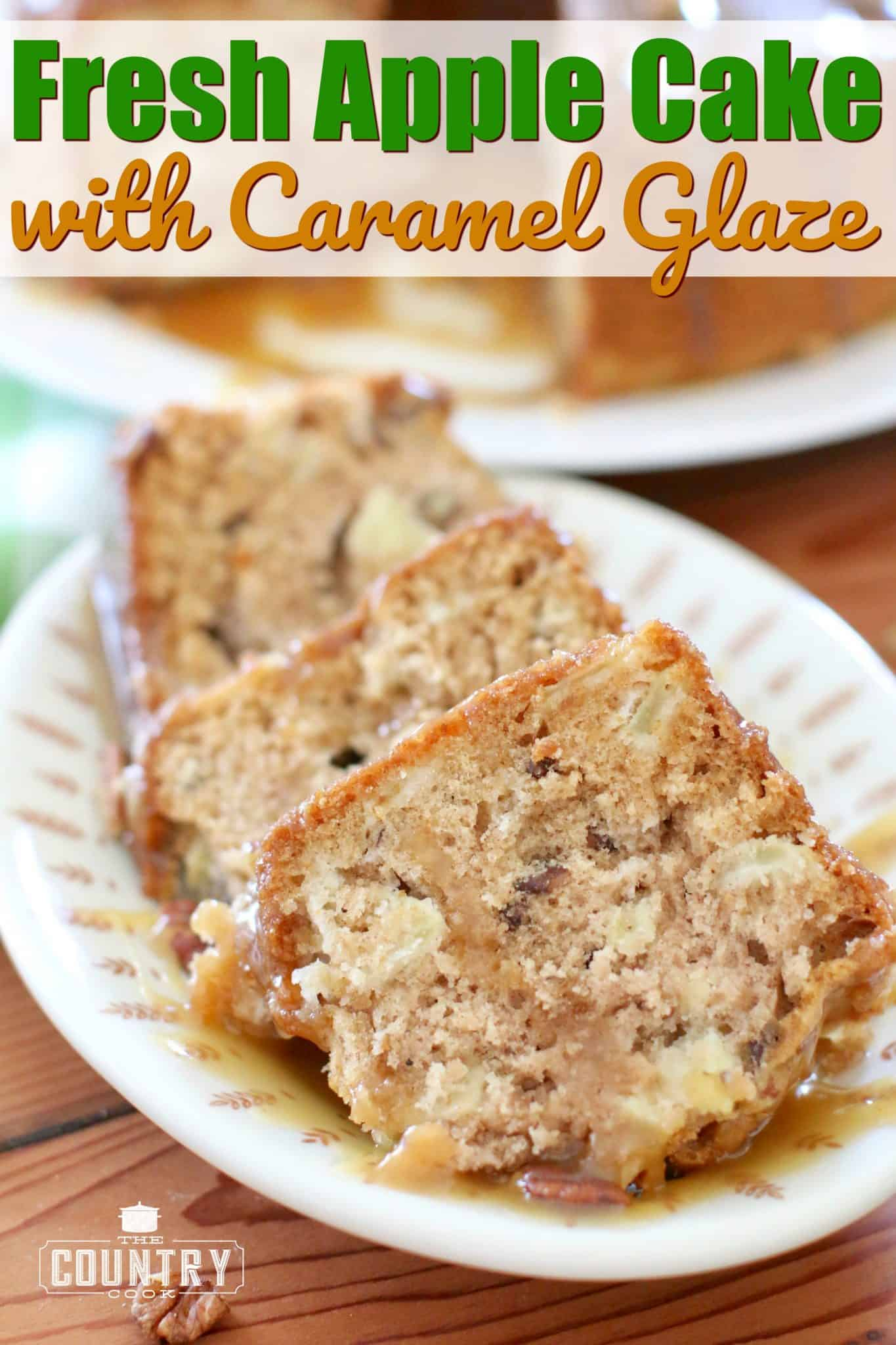 slices of apple cake on a small serving plate with caramel sauce drizzled on top.