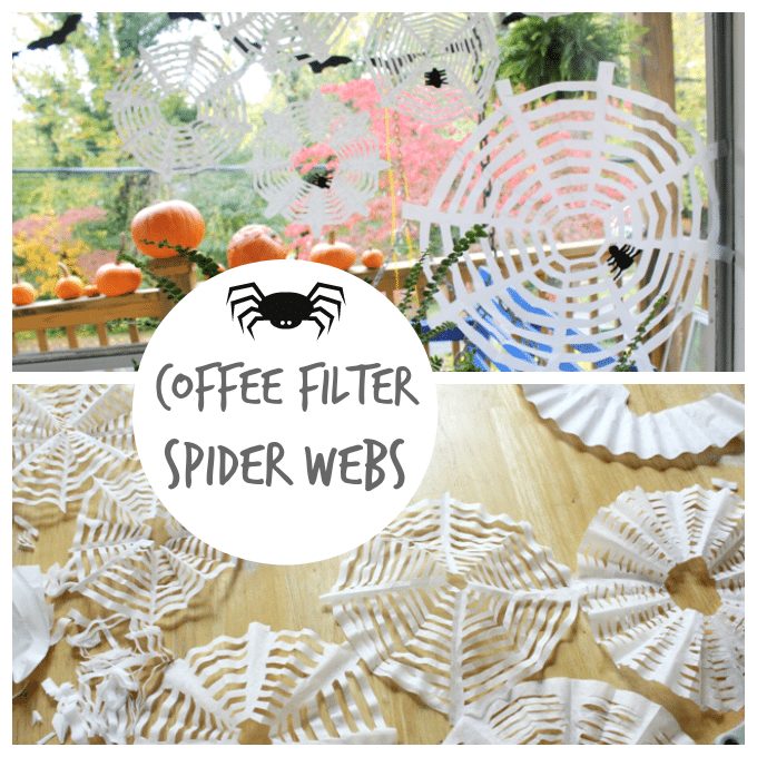 Coffee Filter Spider Webs Craft from The Artful Parent