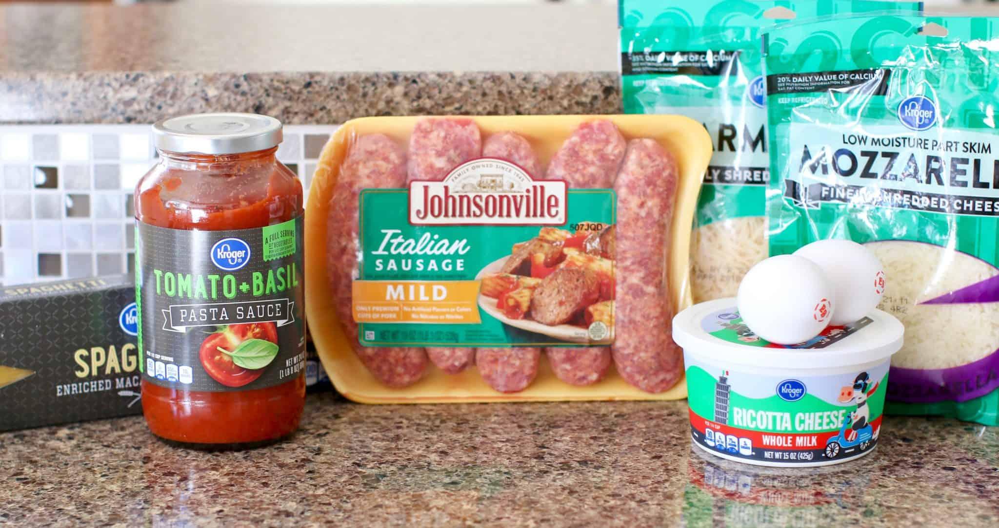 Italian sausage, ricotta cheese, Parmesan cheese, eggs, spaghetti sauce