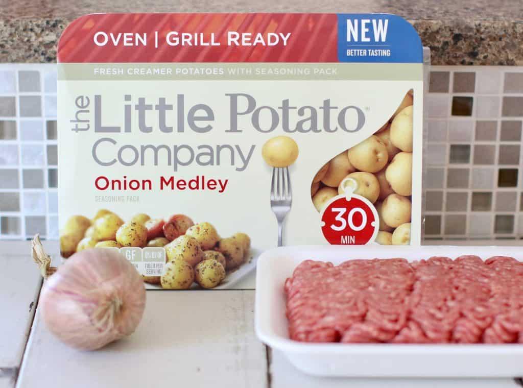 little potatoes, shallot, ground beef, salt and pepper