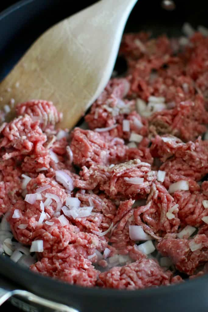 ground beef and chopped shallot